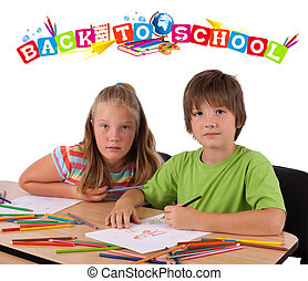 Kids with back to school theme isolated on white