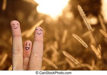 Happy finger hug on farm, selective focus