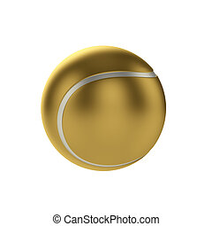 Tennis ball - 3d render gold tennis ball isolated on white...