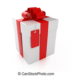 Gift box - 3d render of closed gift box over white...