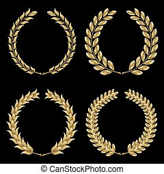 Laurel wreath - Set from gold laurel wreath on the black...