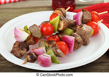 Beef and Vegetable Kabobs - Beef and vegetable kabobs on a...
