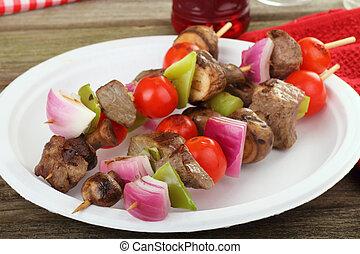 Beef and Vegetable Kabobs - Beef and vegetable kabobs on a...