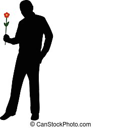 man holding flower - Silhouette of romantic man holding...