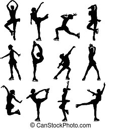 Figure skating silhouettes - vector