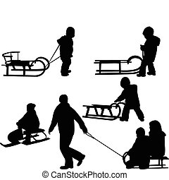 Children sledding silhouettes - vector