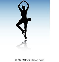figure skating - Figure skater on the abstract background -...