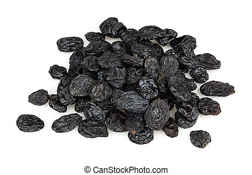 Black raisins on a whit background