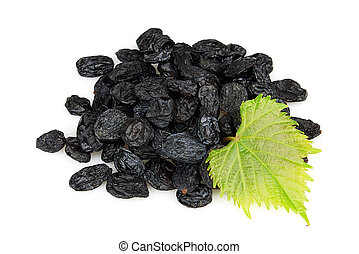 Raisins with leaves