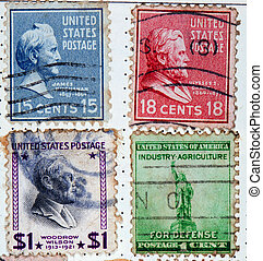 collection of postage stamps from the USA - USA circa...