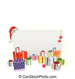 Christmas presents and sign concept - Christmas sign and...