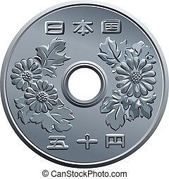 vector Japanese fifty Yen coin - Japanese money, silver coin...