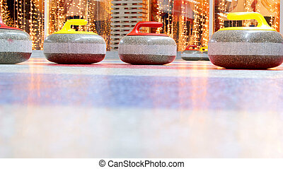 curling stones - Granite stones for curling game on the ice