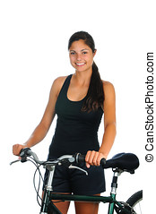 Young woman standing next to her bicycle