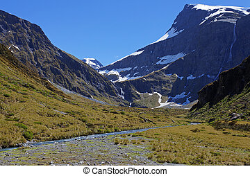Mountain in Spring - View of mountain stream and snow melt...