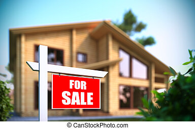 """Home For Sale\"" sign in front of ne - A 3D illustration of..."