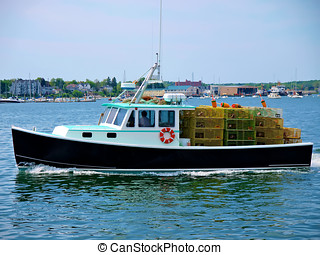 Lobster Boat - lobster boat loaded with wire lobster traps...