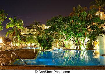 Night illumination of luxury hotel, Tenerife island, Spain