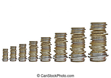 growing piles of various coins - eight growing piles of...