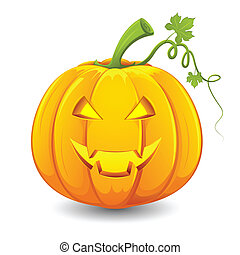 Halloween Pumpkin - illustration of smiley face carved in...