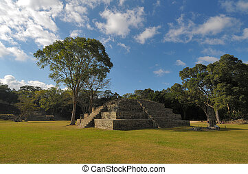 Copan Archeological park - One of the temples in the Copan...