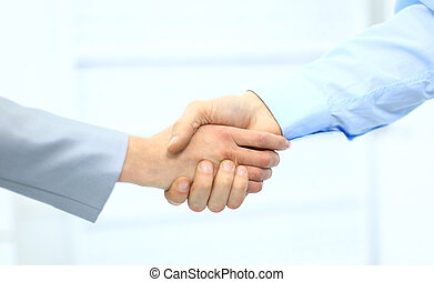 empresa / negocio, hombres, mano, sacudida, oficina