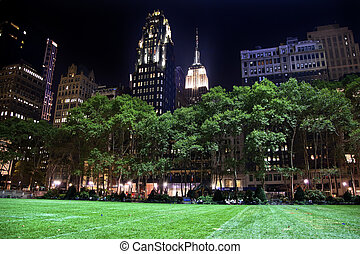 Bryant Park New York City Skyline  Night