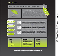 web site design template, gray and green colors