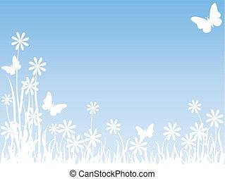 Grass flowers and butterflies