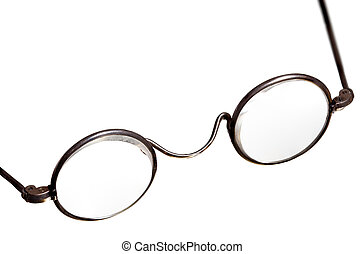 Antique reading glasses isolated - Old fashioned round...