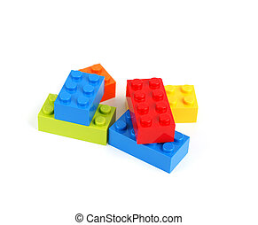 color lego blocks - Color lego blocks on white background