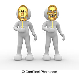 Mask - 3d people - human character with mask