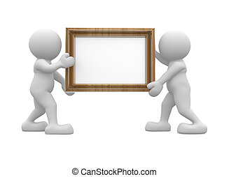 Picture frame - 3d people human character carrying a picture...