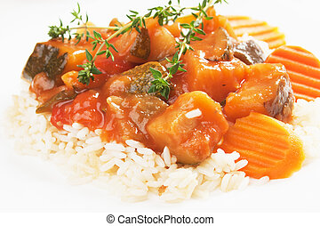 Ratatouille with cooked rice