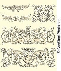 Set of five classical ornaments