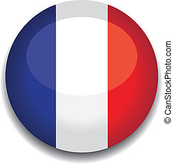 france flag button - france flag in a button