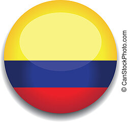 colombia flag button - colombia flag in a button
