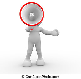 Megaphone - 3d people- human character with megaphone.This...