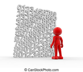 Wall of numbers - 3d people - human character on a wall of...