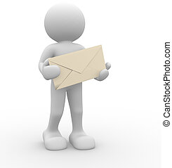 Envelope - 3d people - human character and envelope. This is...