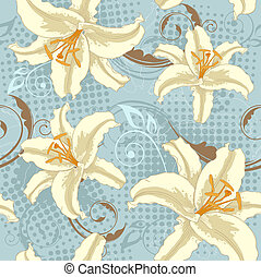 lily seamless pattern - blue floral vector seamless pattern...