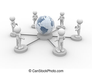 Network - 3d people - human character and globe earth This...