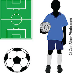 Boy in soccer uniform, soccer ball and terrain - vector