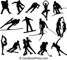 Winter sports silhouettes