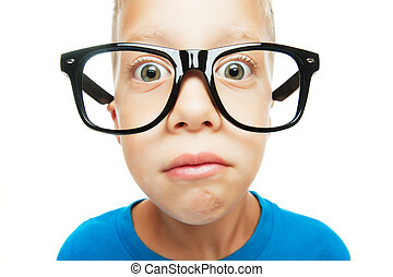 Young nerd - Young boy with nerd glasses isolated on white...