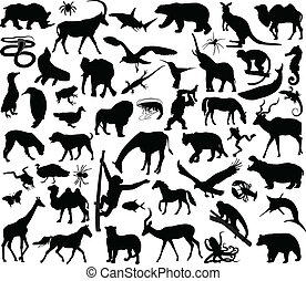Animals collection - Animals silhouettes collection - vector