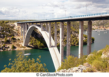 Croatian Krka bridge - Krka bridge above Krka river near...