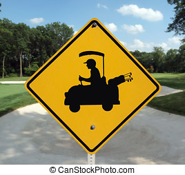 Golf Crossing Sand Trap - Golf cart crossing sign and sand...