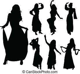 Belly dancers silhouettes - vector