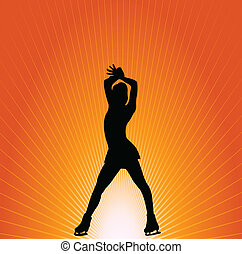 Figure skater on the orange backgro - Figure skater on the...